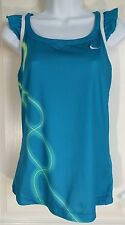 Nike Dry Fit Womens Blue Teal GreeTank Top Sleeveless White Mesh Dry-Fit  M