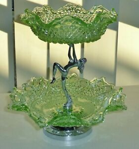 TWO TIER GREEN DEPRESSION GLASS NUDE CHROME DANCING LADY CAKES STAND~CENTREPIECE