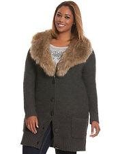 NEW LANE BRYANT $119 FAUX FUR COLLAR SWEATER COAT LONG CARDIGAN SZ 26/28