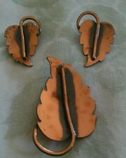 Vintage Brooch w/ Earrings. Well made. Copper tone, earrings clip on.