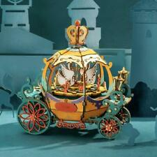 Robotime DIY 3D Wooden Puzzle Music Box Craft Making Kit: Pumpkin Cart