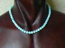 "(cB2870)  Gemstone: Genuine  Blue Opal  Necklace 18"" , Sterling Silver clasp"