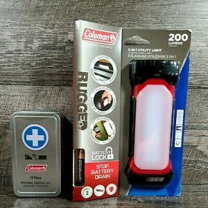 Coleman 2-in-1 Utility Light w/Battery Lock & Coleman 74pc Personal Survival Kit