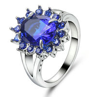 Size 7 Elegant Blue Sapphire white Rhodium Plated Engagement Ring For Women's