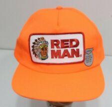 Vintage Red Man Chewing Tobacco Trucker Hat Snapback Usa Orange