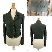 Classic JIGSAW Olive Corduroy Blazer Jacket - UK 8 - Single Breasted Silk Lining