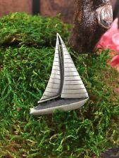 L Vintage Nautical Sail Boat Pewter NOS Brooch Pin