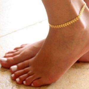 Fußkette  vergoldet mit Verlängerung 21 - 28 cm