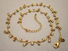 MONET NECKLACE 18 INCH GOLD TONE METAL JEWELRY ZIRCONIA MARCASITE DIAMANTE STONE