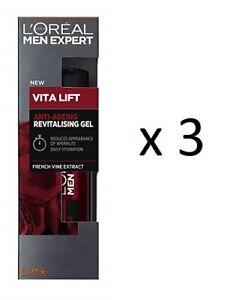 L'Oreal Men Expert Vita Lift Anti-Wrinkle Gel Moisturizer, 50 ml (3 Pack)