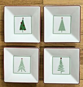 """4 Crate & Barrel Topiary Christmas Trees 5 1/4"""" Appetizer Plates 4 Designs"""