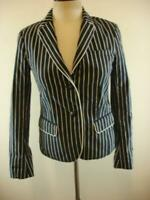 Womens 4 Gap The Academy Blazer Jacket Sport Suit Coat Navy Blue Striped Cotton