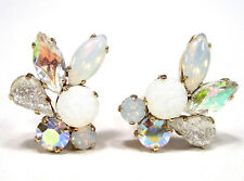 SoHo® Ohrclips mit handgemachten böhmischen Glassteinen navette gold weiss opal