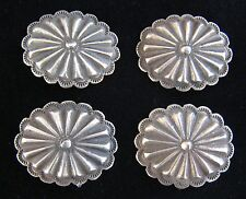 """Buttons 1 1/4"""" X 1"""" #1016 (4) 3rd Phase Silver Concho /"""