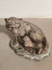 Franklin Mint Endangered Animal Figurines Snow Leopard Mother and Baby 1989