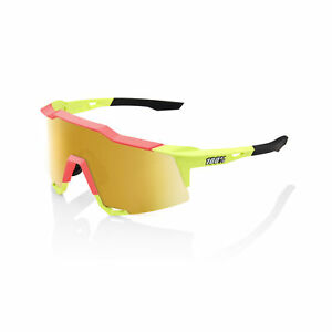 100% Sunglasses SPEEDCRAFT Matte Washed Out Neon Yellow - Flash Gold Mirror Lens