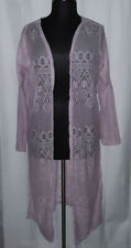 Rouge Collection light pink long sleeve lace duster cardigan, Plus size 3X