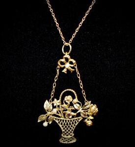 GORGEOUS!! Antique GF Basket of Flowers **PEARLS PASTE & BOW** Pendant Necklace