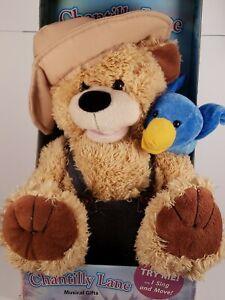 """Chantilly Lane Plush 12"""" Stuffed Animal Pete & Tweet Singing Teddy Bear & Bird"""
