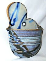 Studio Pottery Wall Pocket Blue Purple Glaze Vase NEW Planter Signed Vermont