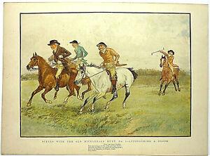 """4 large antique woodblock prints, of """"Old Mickledale Hunt"""" by Caldecott, 1888"""