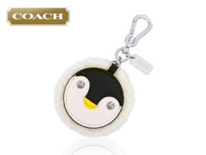 Coach Penguin Face Motif Shearling Key Fob Chain Zipper Pull 64753 Bag Charm