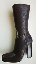 PRADA SOFT LUX DAMASCO mid-calf boots UK 5.5 high heel leather boots BROWN 38.5
