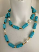Fabulous Vintage Turquoise & Cultured Pearl Gilt Necklace