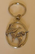 Fine English Pewter Pair Of Ducks Keyring Key Chain Bird, Game