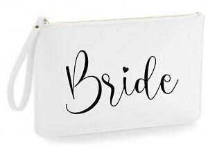 Personalised Leather Look Wedding Clutch Bag Bride Gift Bridesmaid Honeymoon Hen