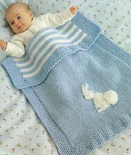 Baby Blanket Knitting Pattern Pram Cover DK  Easy Knit 296