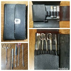 Antique Vintage Betz Germany Medical Surgical Instrument Set Leather Travel Box