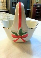 Holly Leaf Handle Porcelain Basket Candy Dish Christmas Mount Clemens 1986