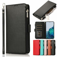 Luxury Leather Handy Flip Zipper Wallet Stand Case Cover Samsung Galaxy Phone