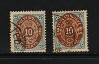 Danish West Indies - #10, #10c, used, cat. $ 57.50