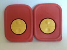 Lot of 2 Tupperware Replacement Vented Lids 3388 A-3 A-6 Orange Rock N Serve