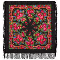 190-19 Winter Wool scarf Original Russian Folk Shawl kerchief Pavlovo Posad wrap