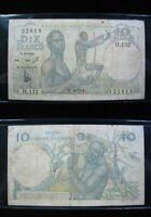 FRENCH WEST AFRICA 10 FRANCS 1954 P37 L'AFRIQUE OCCIDENTALE 18# BANKNOTE MONEY