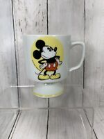 Walt Disney Vintage MICKEY MOUSE Yellow Graphic Pedestal Footed Coffee Mug Cup