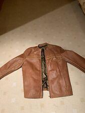 Riverisland Biker  Tan Brown Leather Jacket Size L