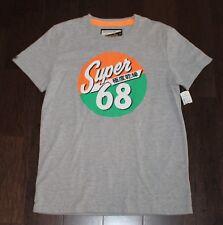 New SUPERDRY Super 68 Japan T-Shirt Men LARGE L Super Dry Gray Green Neon Orange