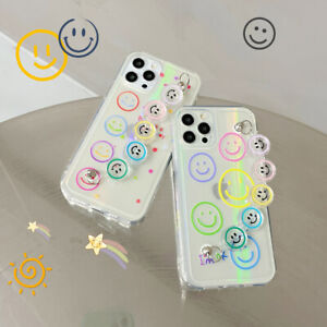 Transparent Reflection Smiley Phone Case For iPhone 11 12 Pro Max XS 7 8 Plus XR