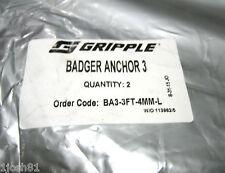 (2) GRIPPLE Badger Anchor 3 System BA3-3FT-4MM-L Anchor Kit