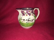 Staffordshire Pearlware Pink Luster Hunt Pitcher With Dogs Circa 1820's