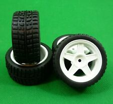 White 5 Spoke wheels with tyres & inserts for Tamiya Minis M Series - set of 4.