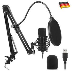 USB Kondensator Mikrofon mit Halterung Studio Audio Aufnahme für Live Youtube DE
