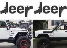 "(2) Flat Black 6"" x 3"" Jeep Guns Revolver NRA Vinyl Decal Stickers New Free Ship"
