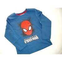 MARVEL t-shirt  6 8 ou 10 ans  SPIDERMAN  bleu manches longues NEUF