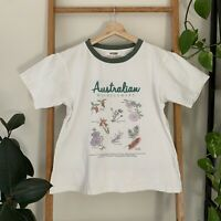Ryder Label Womens Australian Wildflowers Print Green Ringer Style Tee Size M