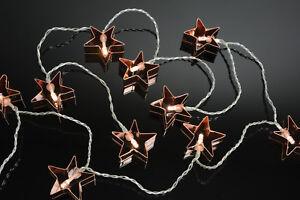 LED Battery Powered String Lights: 10 x Copper Star polished metal star design
